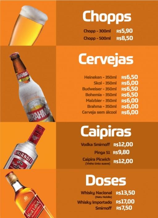 Bebidas Cardápio Picwich