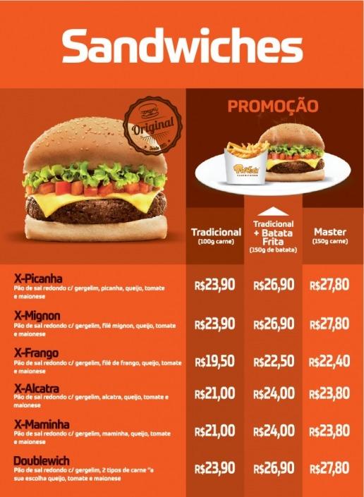 Sandwiches Cardápio Picwich