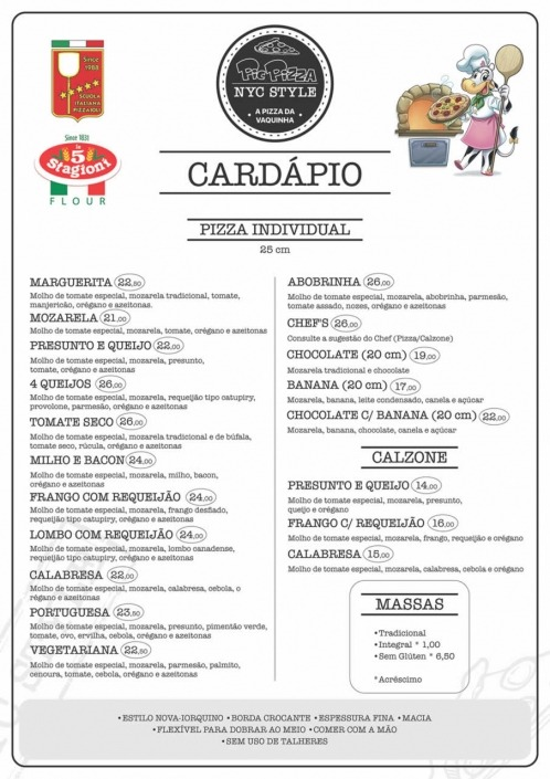Cardápio de Pizzas 25cm Estilo Nova-Iorquino Picwich Londrina