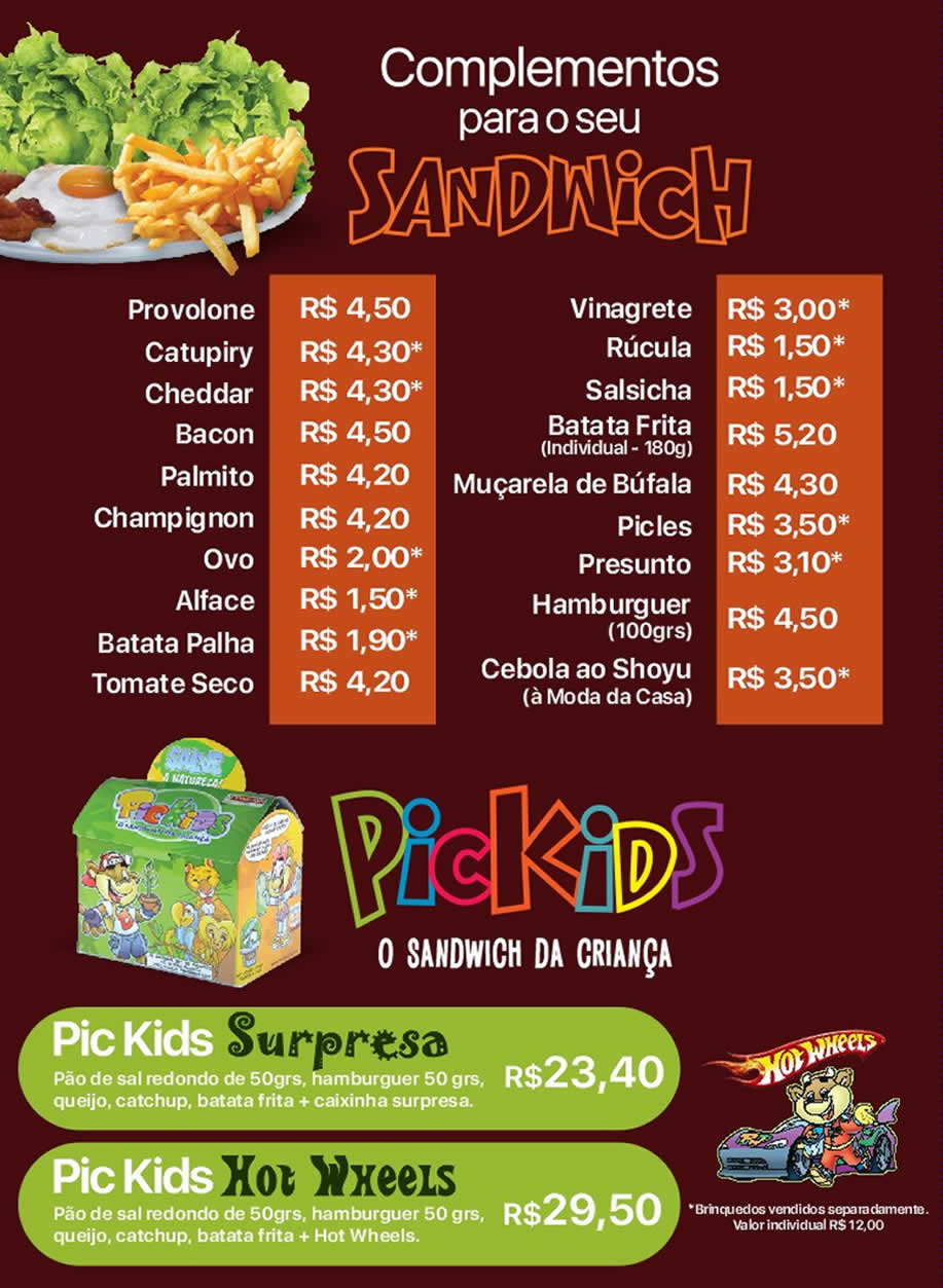 Complementos para os Sandwiches Picwich